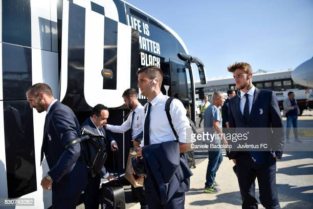 Rodrigo Bentancur during the travel to Rome ahead of the Italian Supercup at on August 12 2017 in Turin Italy