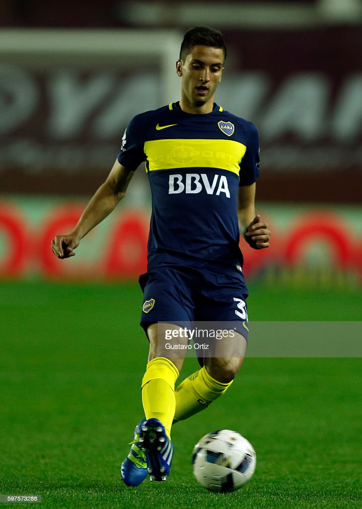 Rodrigo Bentancur of Boca Juniors drives the ball during a match between Lanus and Boca Juniors as part of first round of Campeonato de Primera...