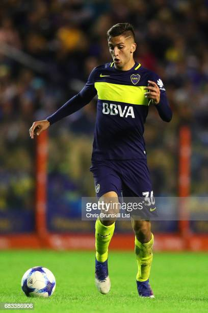 Rodrigo Bentancur of Boca Juniors in action during the Torneo Primera Division match between Boca Juniors and River Plate at Estadio Alberto J...