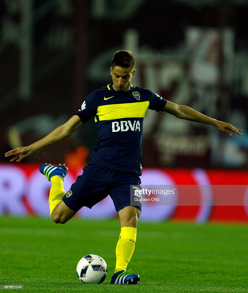 Rodrigo Bentancur of Boca Juniors kicks the ball during a match between Lanus and Boca Juniors as part of first round of Campeonato de Primera...