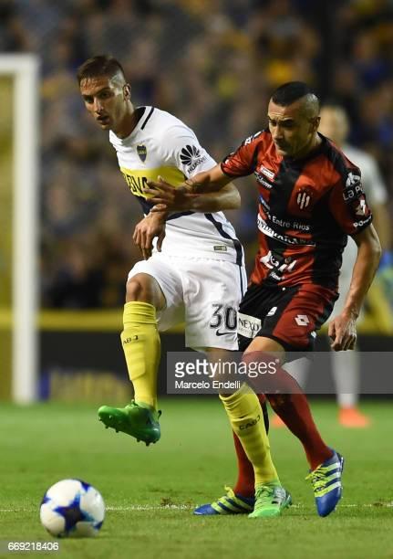Rodrigo Bentancur of Boca Juniors kicks the ball during a match between Boca Juniors and Patronato as part of Torneo Primera Division 2016/17 at...