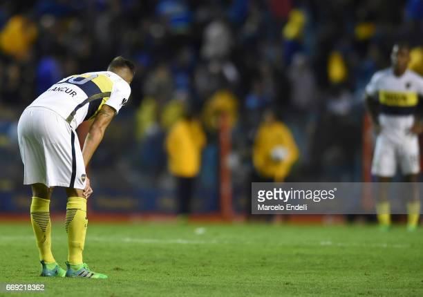 Rodrigo Bentancur of Boca Juniors looks dejected after a match between Boca Juniors and Patronato as part of Torneo Primera Division 2016/17 at...