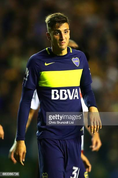 Rodrigo Bentancur of Boca Juniors looks on during the Torneo Primera Division match between Boca Juniors and River Plate at Estadio Alberto J Armando...