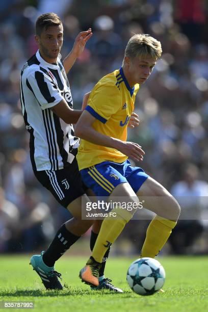 Rodrigo Bentancur of Juventus A competes during the preseason friendly match between Juventus A and Juventus B on August 17 2017 in Villar Perosa...