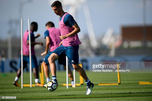 Rodrigo Bentancur of Juventus during a training session on July 13 2017 in Vinovo Italy