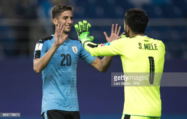 Rodrigo Bentancur of Uruguay hugs Santiago Mele of Uruguay during the FIFA U20 World Cup Korea Republic 2017 Semi Final match between Uruguay and...
