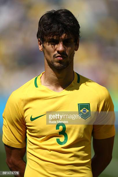 Rodrigo Caio of Brazil ahead of the Men's Semifinal Football match at Maracana Stadium on Day 12 of the Rio 2016 Olympic Games on August 17 2016 in...