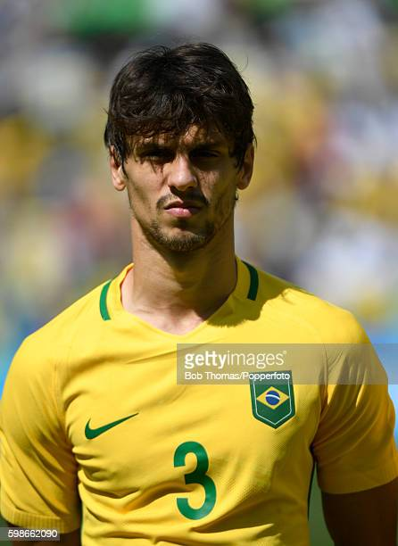 Rodrigo Caio of Brazil before the Men's Semifinal Football match between Brazil and Honduras at Maracana Stadium on Day 12 of the Rio 2016 Olympic...