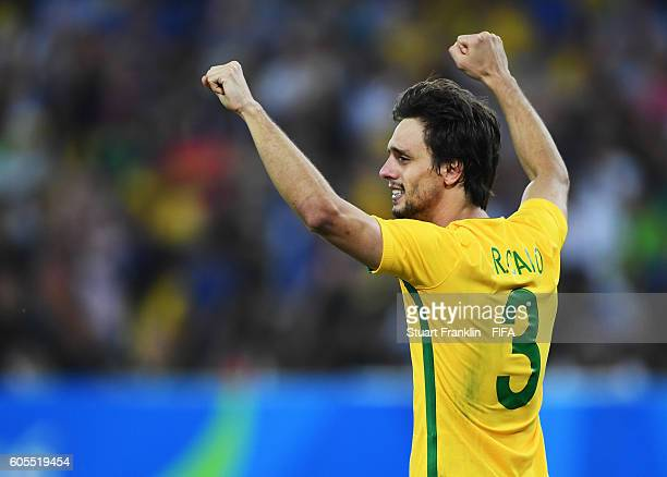 Rodrigo Caio of Brazil celebrates during the Olympic Men's Final Football match between Brazil and Germany at Maracana Stadium on August 20 2016 in...