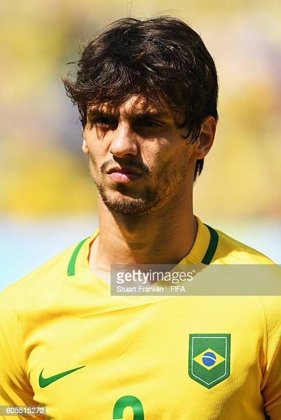 Rodrigo Caio of Brazil looks on during the Olympic Men's semi final match between Brazil and Honduras at Maracana Stadium on August 17 2016 in Rio de...