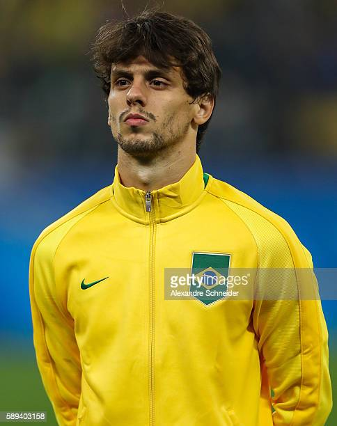 Rodrigo Caio of Brazil stand for the national anthen before the match between Brazil and Colombia mens football quarter final at Arena Corinthians on...