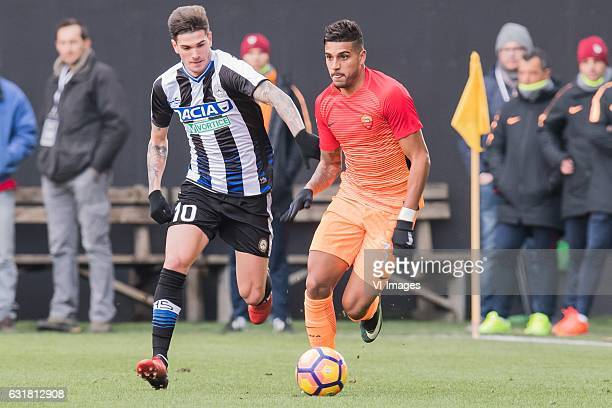 Rodrigo De Paul of Udinese Emerson Palmieri of AS Romaduring the Italian Serie A match between Udinese and AS Roma at Dacia Arena on January 15 2017...
