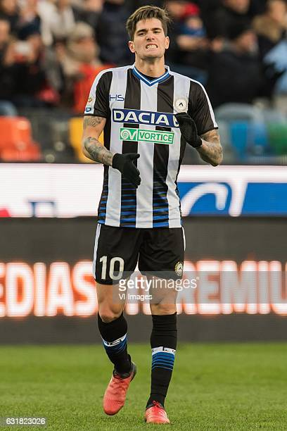 Rodrigo De Paul of Udineseduring the Italian Serie A match between Udinese and AS Roma at Dacia Arena on January 15 2017 in Udine Italy