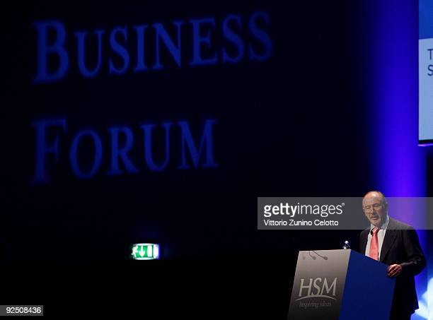Rodrigo De Rato speaks during the 2009 World Business Forum on October 29 2009 in Milan Italy The Italian 6th edition of the WBF will run for twodays...