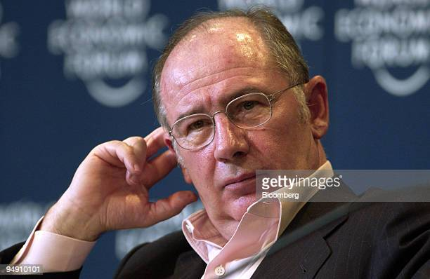 Rodrigo de Rato y Figaredo deputy Prime Minister and Economy Minister Spain is seen during a panel discussion at the World Economic Forum in Davos...