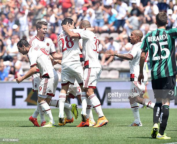 Rodrigo Dias Alex of Milan celebrates after scoring the goal 22 during the Serie A match between US Sassuolo Calcio and AC Milan on May 17 2015 in...