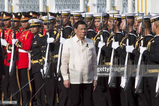 Rodrigo Duterte the Philippines' president arrives ahead of a news conference at Government House in Bangkok Thailand on Tuesday March 21 2017...