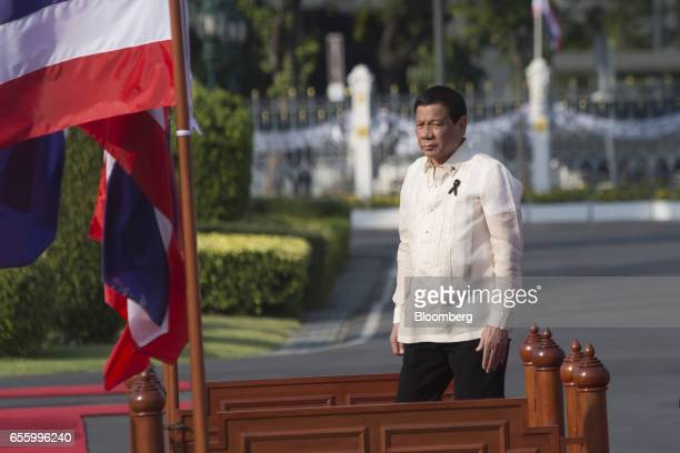 Rodrigo Duterte the Philippines' president looks on ahead of a news conference at Government House in Bangkok Thailand on Tuesday March 21 2017...