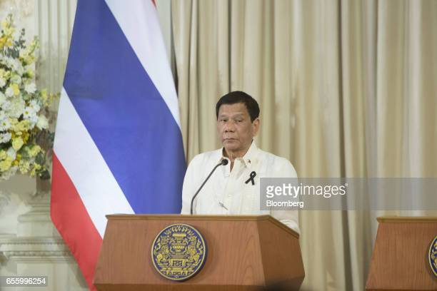 Rodrigo Duterte the Philippines' president pauses during a news conference at Government House in Bangkok Thailand on Tuesday March 21 2017 Duterte...