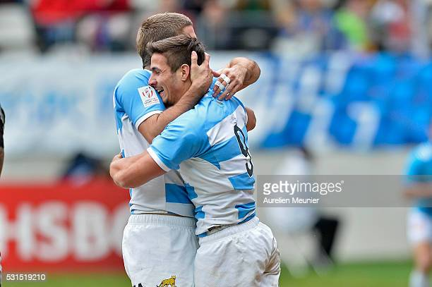 Rodrigo Etchart of Argentina reacts after scoring a try during the match between Argentina and Samoa during ninth round of the HSBC Sevens World...