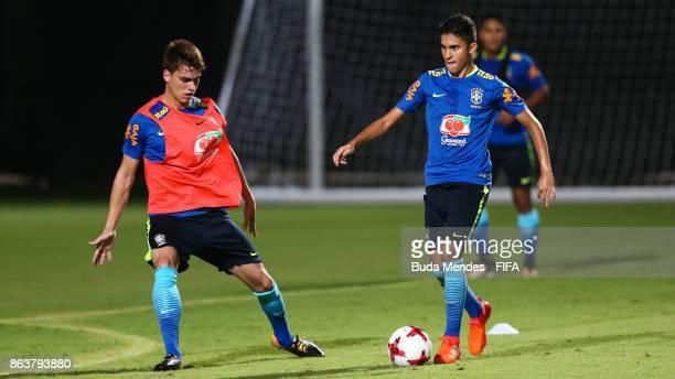 Rodrigo Guth and Rodrigo Nestor of Brazil in action during the training session ahead of the FIFA U17 World Cup India 2017 tournament at Kolkata 2...