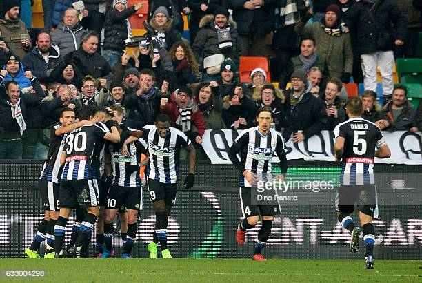 Rodrigo Javier De Paul of Udinese Calcio celebrates after scoring his team's second goal during the Serie A match between Udinese Calcio and AC Milan...
