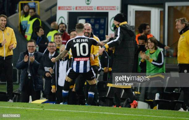 Rodrigo Javier De Paul of Udinese Calcio celebrates after scoring his teams third goal during the Serie A match between Udinese Calcio and US Citta...