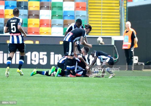 Rodrigo Javier De Paul of Udinese Calcio celebrates after scoring his opening goal during the Serie A match between Udinese Calcio and Genoa CFC at...