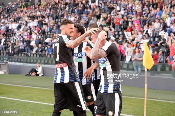 Rodrigo Javier De Paul of Udinese Calcio celebrates after scoring his shot on goal was deflected into the net by Rubinho of Udinese during the Serie...
