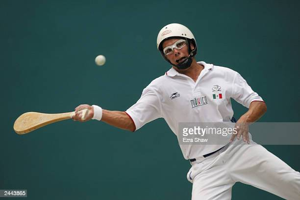 Rodrigo Ledezma of Mexico returns a shot against Argentina in the pelota vasca doubles finals at Centro Olimpico Juan Pablo Durate on August 15 2003...