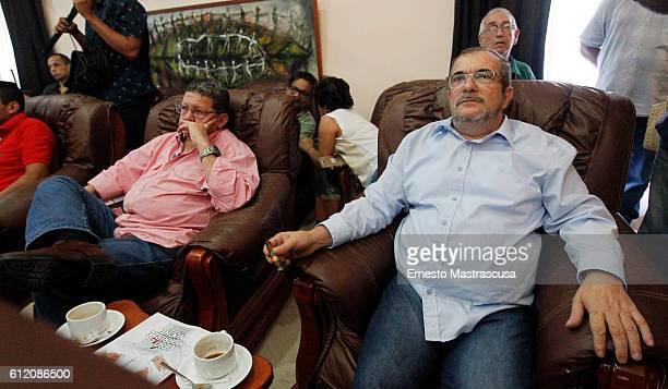 Rodrigo Londoño Echeverri also known as Timochenko and Timoleón Jimenez the top leader of the Revolutionary Armed Forces of Colombia FARC smokes a...