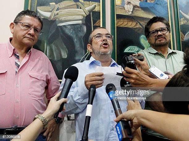 Rodrigo Londoño Echeverri also known as Timochenko and Timoleón Jimenez the top leader of the Revolutionary Armed Forces of Colombia FARC talks to...