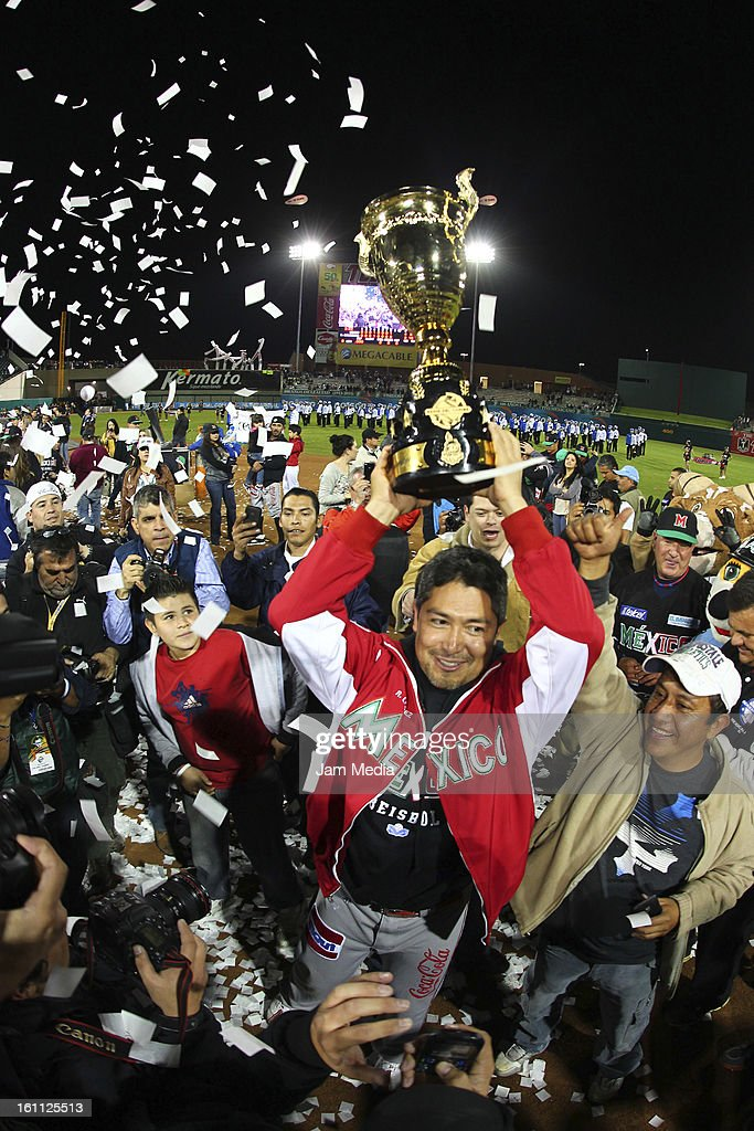 <a gi-track='captionPersonalityLinkClicked' href=/galleries/search?phrase=Rodrigo+Lopez&family=editorial&specificpeople=216384 ng-click='$event.stopPropagation()'>Rodrigo Lopez</a> of Mexico, celebrate during the Final Caribbean Series Baseball 2013 in Sonora Stadium on february 7, 2013 in Hermosillo, Mexico.