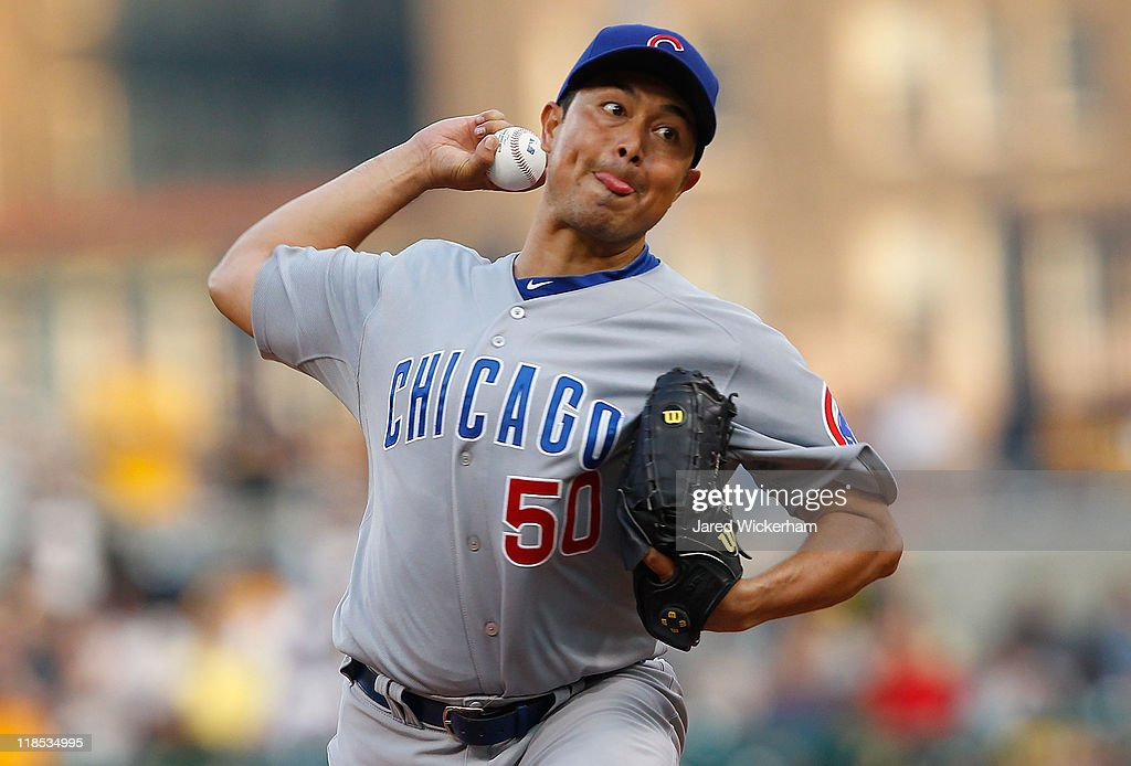 Rodrigo Lopez #50 of the Chicago Cubs pitches against the Pittsburgh Pirates during the game on July 8, 2011 at PNC Park in Pittsburgh, Pennsylvania.
