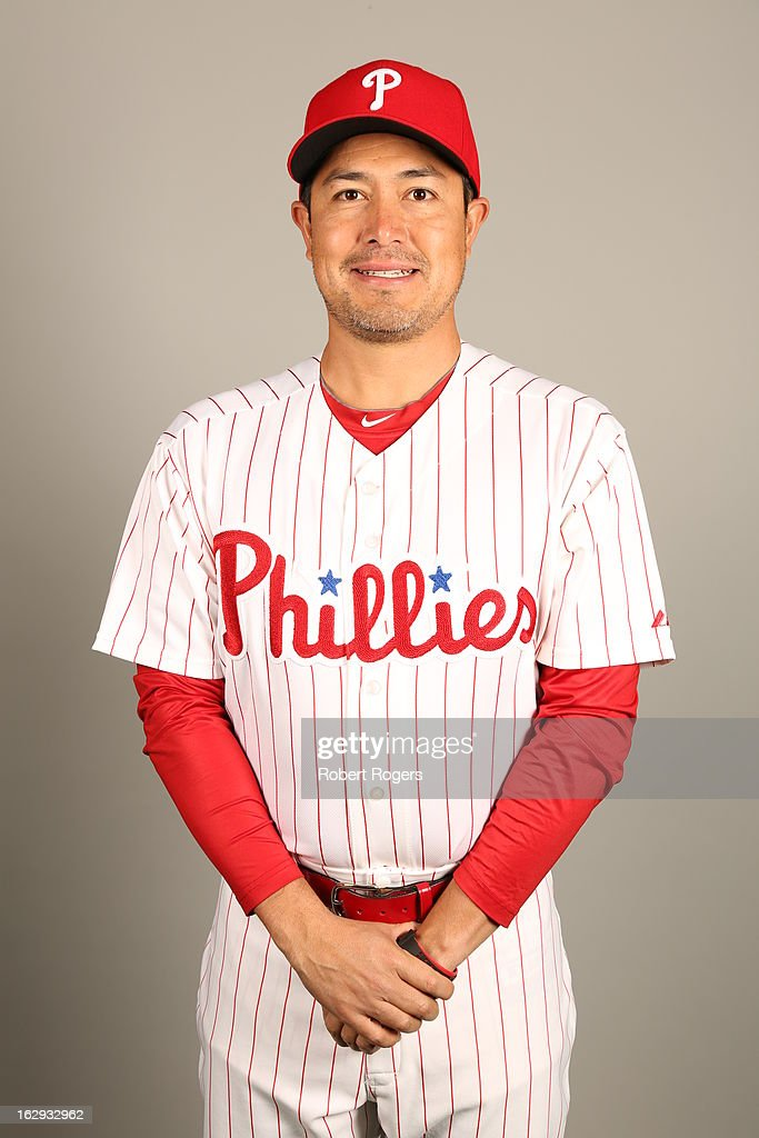 <a gi-track='captionPersonalityLinkClicked' href=/galleries/search?phrase=Rodrigo+Lopez&family=editorial&specificpeople=216384 ng-click='$event.stopPropagation()'>Rodrigo Lopez</a> #16 of the Philadelphia Phillies poses during Photo Day on Monday, February 18, 2013 at Bright House Field in Clearwater, Florida.