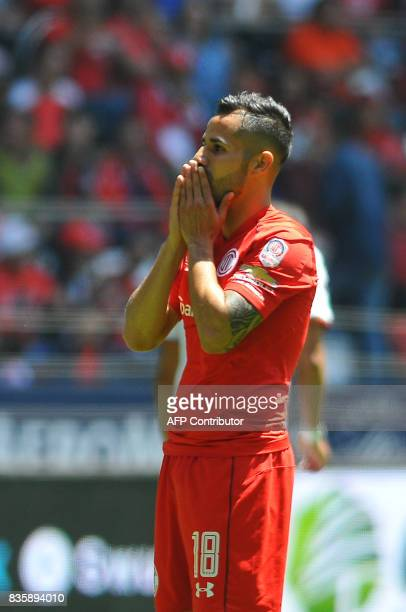 Rodrigo Lopez of Toluca reacts during the Mexican Apertura football tournament match against Necaxa at the Nemesio Diez stadium in Toluca Mexico on...