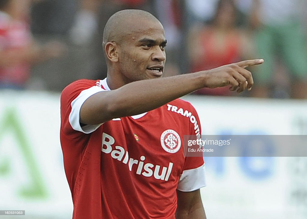 Rodrigo Moledo of Internacional celebrates a goal during a match between Gremio and Internacional as part of the Gaucho championship at Centenario stadium on February 24, 2013 in Caixas Do Sul, Brazil.