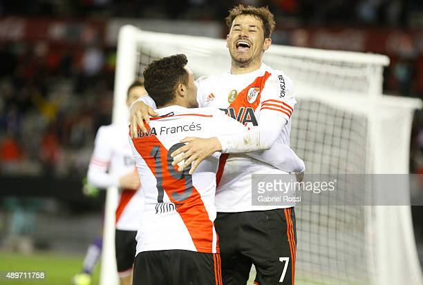 Rodrigo Mora of River Plate and Tabare Viudez celebrate their team's second goal during a first leg match between River Plate and Liga Deportiva...