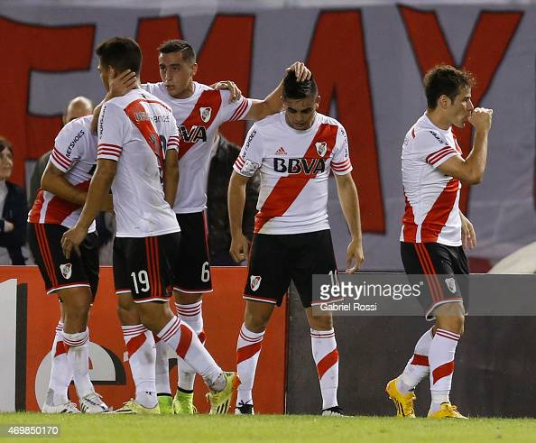 Rodrigo Mora of River Plate and teammates celebrate their team's first goal during a match between River Plate and San Jose as part of Group 6 of...