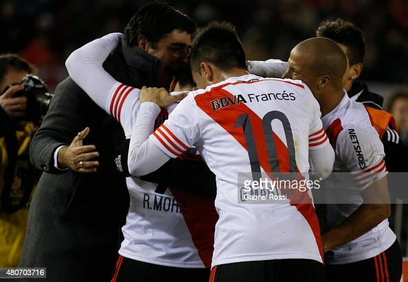 Rodrigo Mora of River Plate and teammates celebrate their team's second goal during a first leg Semi Final match between River Plate and Guarani as...