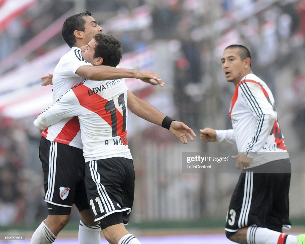 Rodrigo Mora of River Plate celebrates a goal during a match between Union de Santa Fe and River Plate as part of the Torneo Final 2013 at 15 de Abril stadiun on May 19, 2013 in Santa Fe, Argentina.