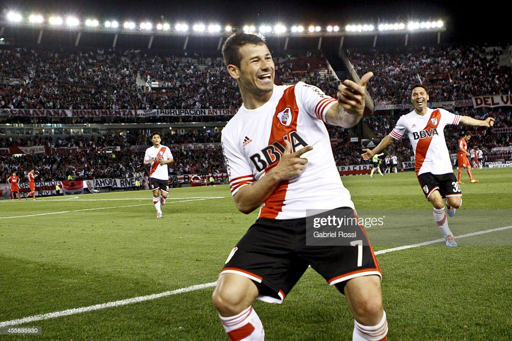 Rodrigo Mora of River Plate celebrates after scoring the fourth goal of his team during a match between River Plate and Independiente as part of...