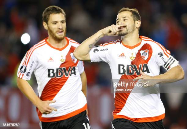 Rodrigo Mora of River Plate celebrates after scoring the penalty goal for his team during a group stage match between River Plate and Emelec as part...