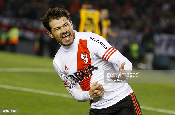 Rodrigo Mora of River Plate celebrates after scoring the second goal of his team during a first leg Semi Final match between River Plate and Guarani...