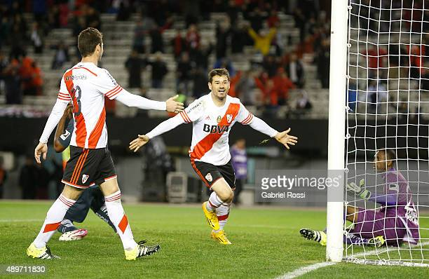 Rodrigo Mora of River Plate celebrates after scoring the second goal of his team during a first leg match between River Plate and Liga Deportiva...