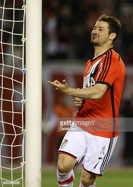 Rodrigo Mora of River Plate celebrates after scoring the tying goal during a match between River Plate and Aldosivi as part of round 28 of Torneo de...
