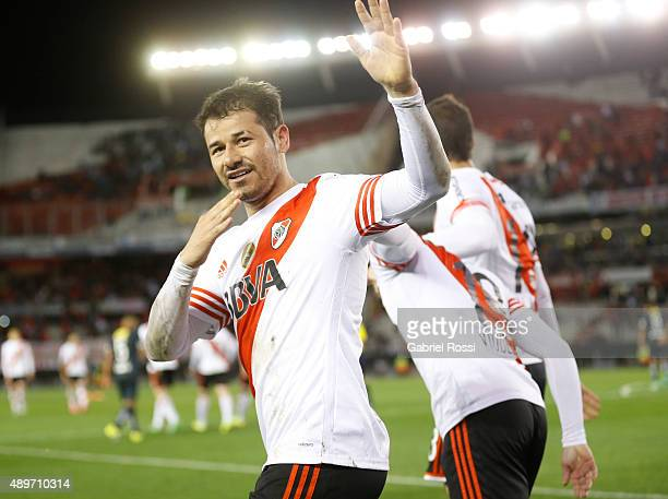 Rodrigo Mora of River Plate celebrates the second goal of his team during a first leg match between River Plate and Liga Deportiva Universitaria de...