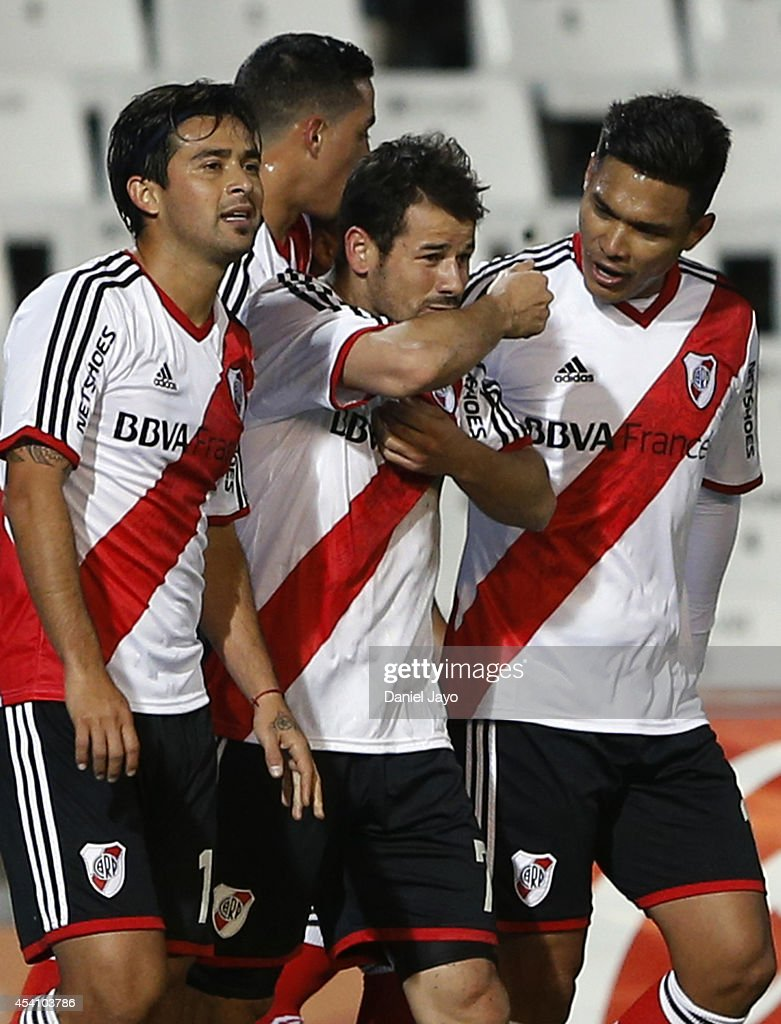 Rodrigo Mora of River Plate celebrates with teammates after scoring during a match between Godoy Cruz and River Plate as part of third round of...