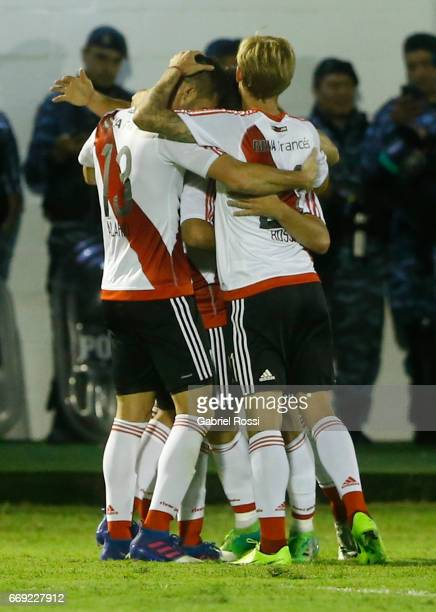 Rodrigo Mora of River Plate celebrates with teammates after scoring the second goal of his team during a match between Tigre and River Plate as part...