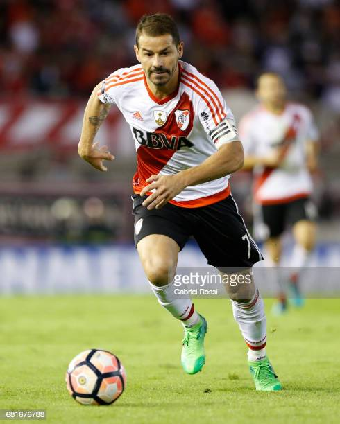 Rodrigo Mora of River Plate drives the ball during a group stage match between River Plate and Emelec as part of Copa CONMEBOL Libertadores...